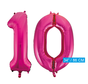 Roze folie ballonnen cijfers  10