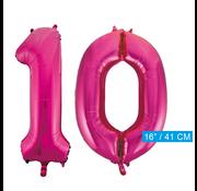Cijfer ballonnen roze 10