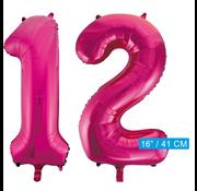 Cijfer ballonnen roze 12