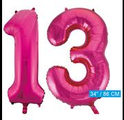 Roze cijfer ballonnen 13