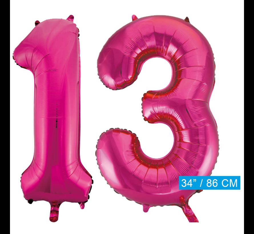 Pink roze cijfer ballonnen 13