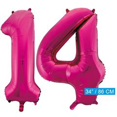 Roze cijfer ballonnen 14