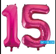 Roze cijfer ballonnen 15
