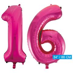 Roze cijfer ballonnen 16