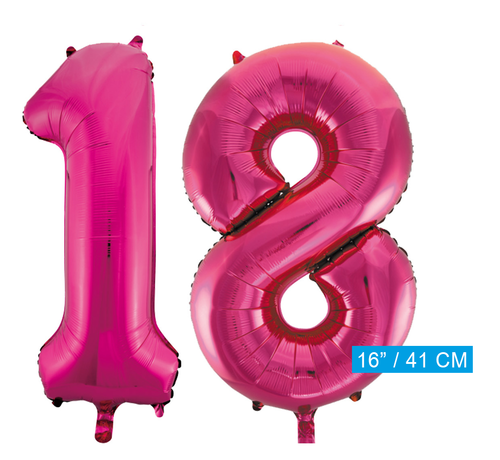 Folie cijfer ballonnen  pink roze 18
