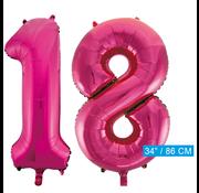 Roze cijfer ballonnen 18