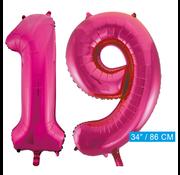 Roze cijfer ballonnen 19