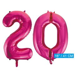 Cijfer ballonnen roze  20