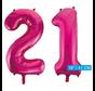 Folie cijfer ballonnen  pink roze 21