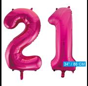 Roze cijfer ballonnen 21