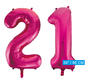 Helium roze cijfer ballonnen 21