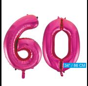 Roze cijfer ballonnen 60