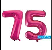 Roze cijfer ballonnen 75