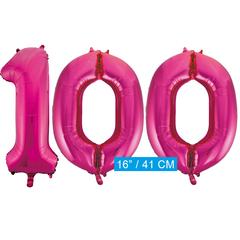 Cijfer ballonnen roze 100
