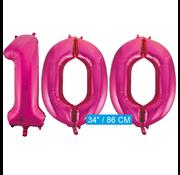 Roze cijfer ballonnen 100