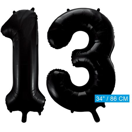 Zwarte cijfer 13 ballonnen
