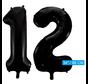 Zwarte cijfer 12 ballonnen