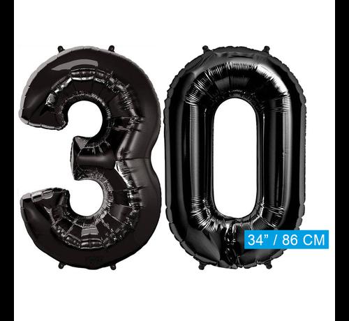 Zwarte Folie ballonnen cijfers 30