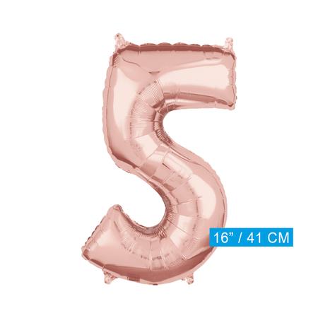 Folie  rosé goud cijfer 5 ballon