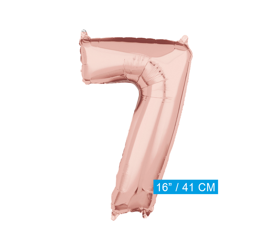 Folie rosé goud cijfer 7 ballon