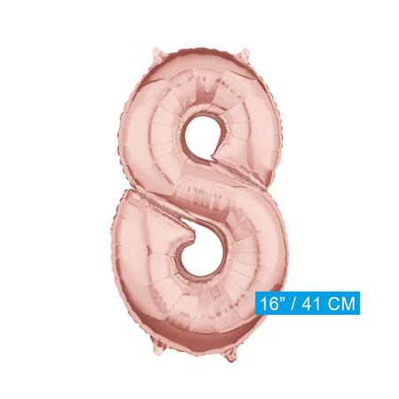 Folie  rosé goud cijfer 8 ballon