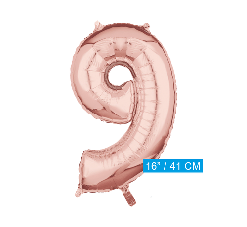 Folie  rosé goud cijfer 9 ballon