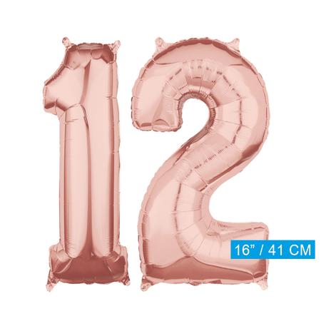 Folie  rosé goud cijfer 12 ballonnen