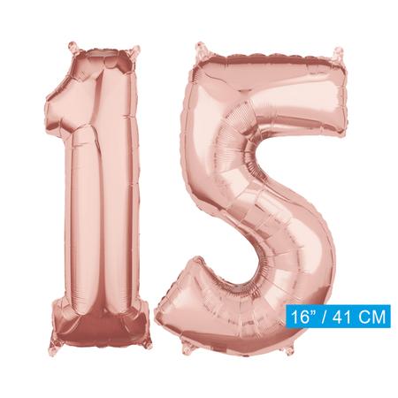 Folie  rosé goud cijfer 15  ballon