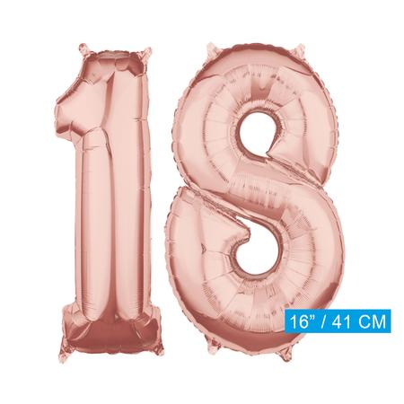 Folie  rosé goud cijfer 18  ballonnen
