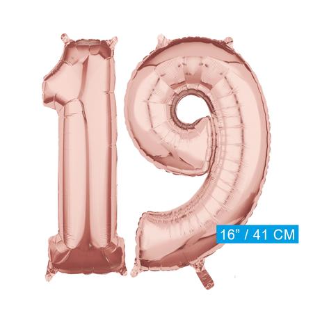Folie  rosé goud cijfer 19  ballonnen