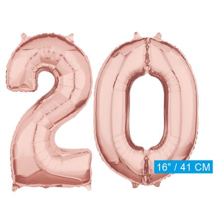Folie  rosé goud cijfer 20 ballonnen