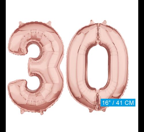 Folie rosé goud cijfer 30  ballonnen