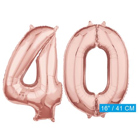 Folie  rosé goud cijfer 40  ballonnen