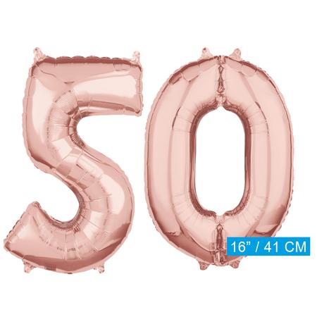 Folie rosé goud cijfer 50  ballonnen