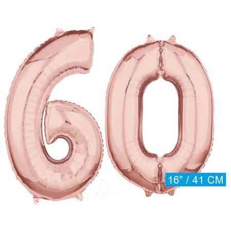 Folie  rosé goud cijfer 60  ballonnen