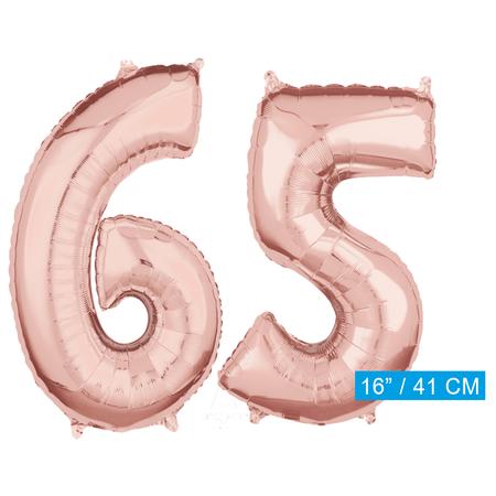 Folie  rosé goud cijfer 65  ballonnen
