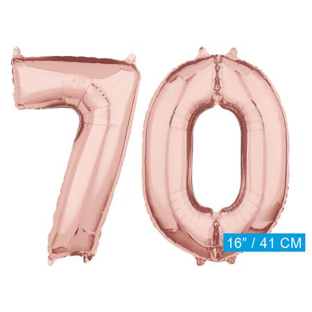 Folie  rosé goud cijfer 70  ballonnen