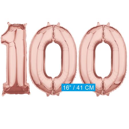 Folie  rosé goud cijfer 100  ballonnen