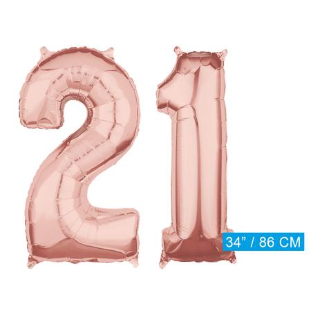 Helium cijfer ballonnen 21  rosé goud
