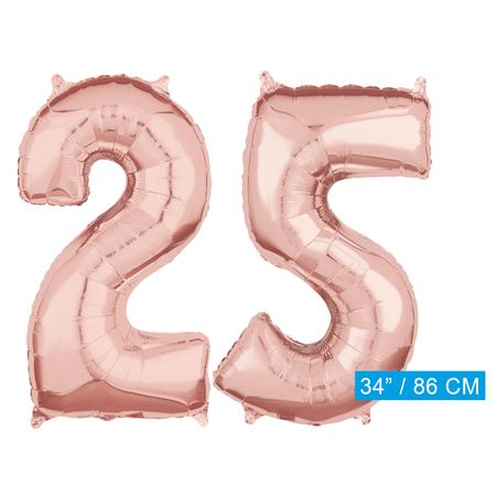 Helium cijfer ballonnen 25 rosé goud