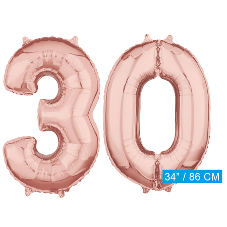 Helium cijfer ballonnen 30  rosé goud