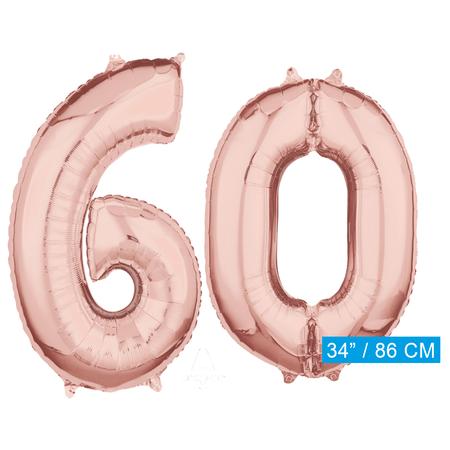 Helium cijfer ballonnen 60  rosé goud