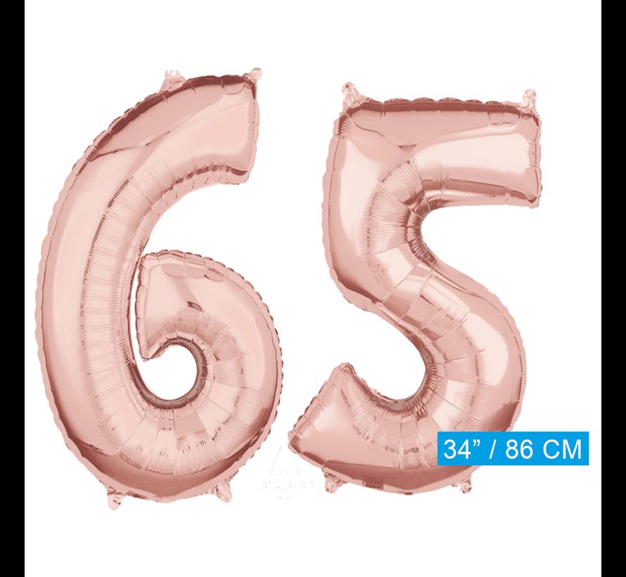 Helium cijfer ballonnen 65  rosé goud