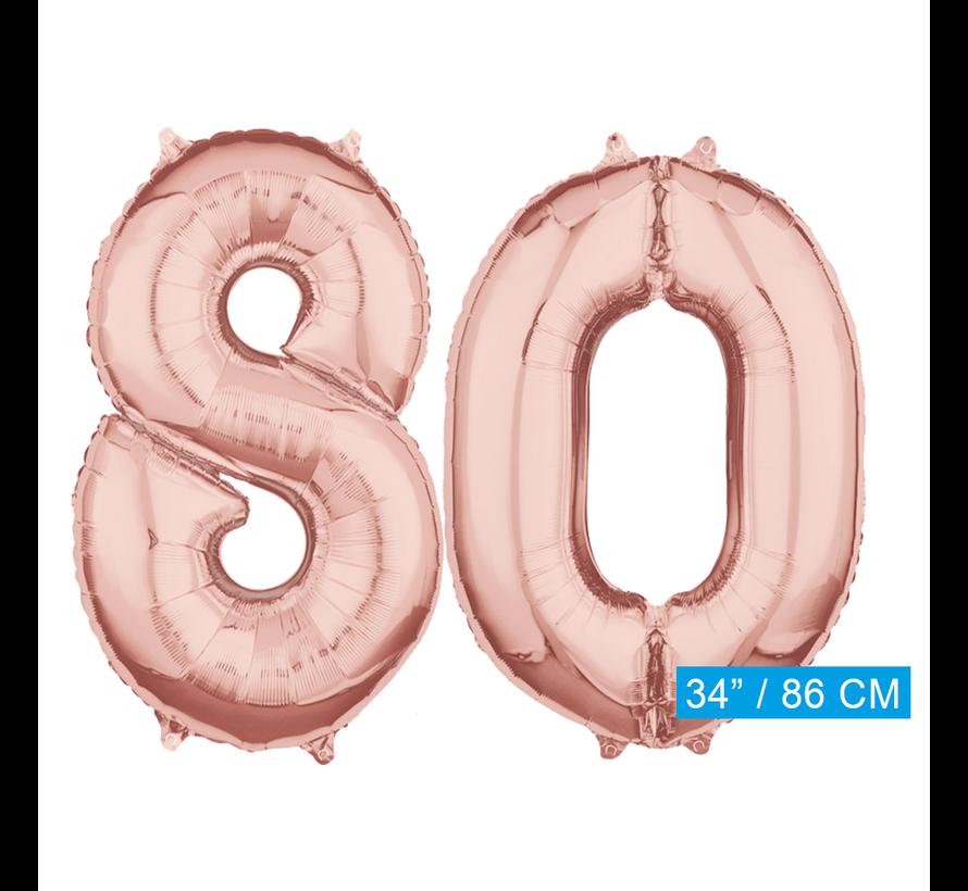 Helium cijfer ballonnen 80  rosé goud