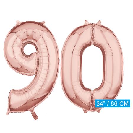Helium cijfer ballonnen 90  rosé goud