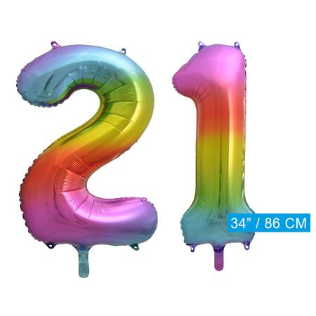 Regenboog cijfer ballon 21