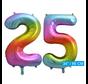 Regenboog cijfer ballon 25