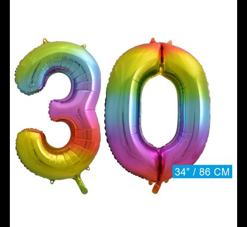 Regenboog cijfer ballon 30
