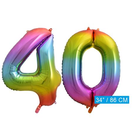 Regenboog cijfer ballon 40