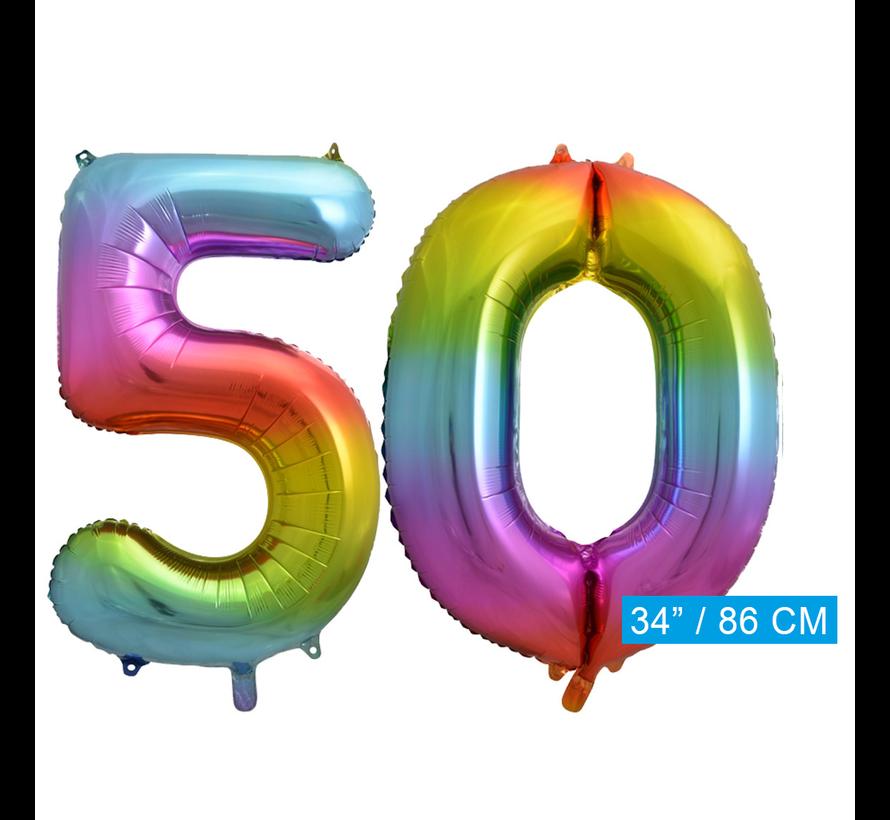 Regenboog cijfer ballon 50